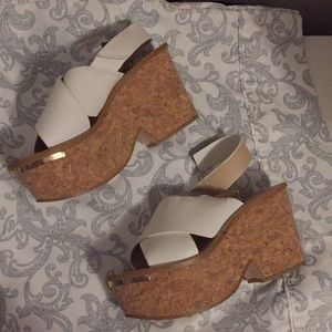 White Zara Heel Leather Wedges